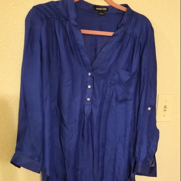 Audrey Ann cobalt royal blue tunic blouse